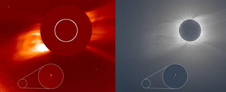 Comet flying past the sun during solar eclipse