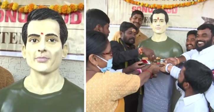 People Are Worshipping Sonu Sood Literally! Villagers Dedicate Temple To Him, Perform His Aarti