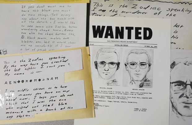 A San Francisco Police Department wanted bulletin and copies of letters sent to The San Francisco Chronicle
