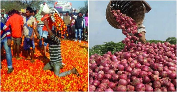 Farmers dump onion tomotoes on road
