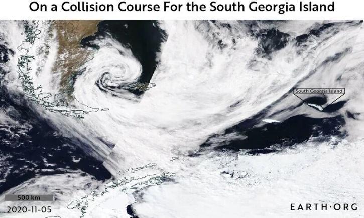 South Georgia Island, A68a, A68a Iceberg, A68a Iceberg floating, A68a Satellite Images, King Penguins