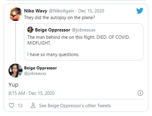 Woman tweets about co-passenger who died of COVID-19