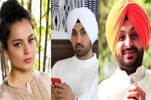 Kangana Ranaut, Diljit Dosanjh and Ranvneet Singh Bittu / Indiatimes