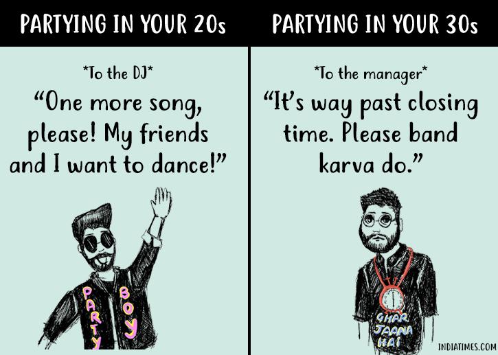 partying in 20s vs 30s