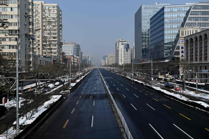 A general view shows an empty street in Beijing.