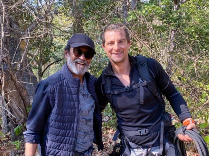 Rajinikanth with Bear Grylls for Man VS Wild episode in Karnataka