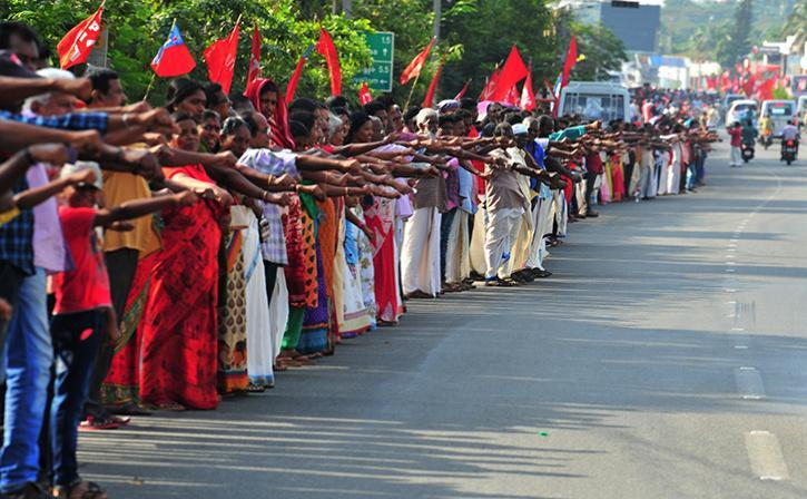 Long human Chain In Kerala