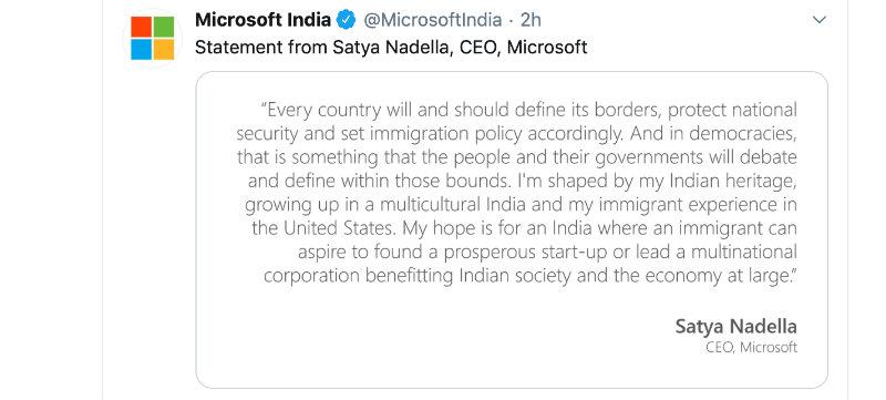 Microsoft India Satya Nadella statement