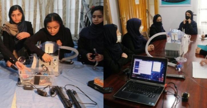 Girls make low cost ventilator