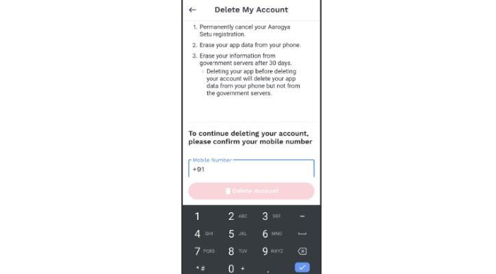 Aarogya Setu app delete my account