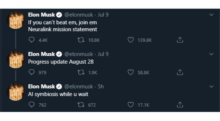 Elon Musk talking about Neuralink on his Twitter feed