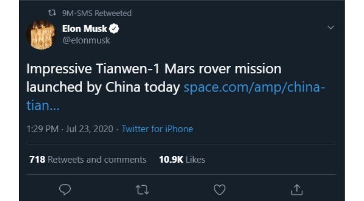 Tianwen-1 Elon Musk tweet