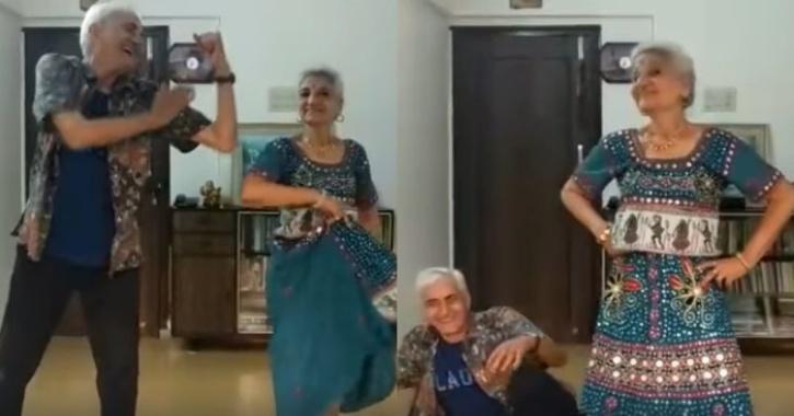 Elder couple dancing