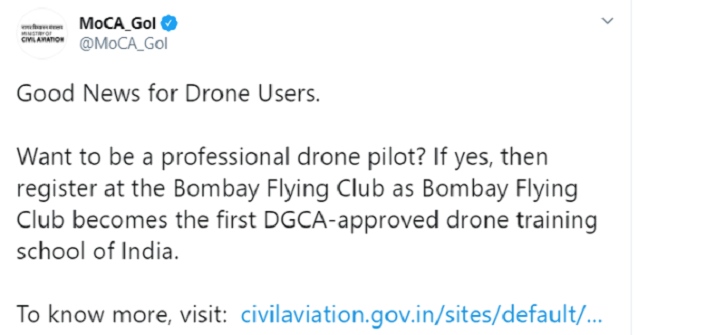 Bombay Flying Club, India First Drone Training School, DGCA-Approved Drone Training School, Drone Training, Drone Use, Drone Pilot, Auto News