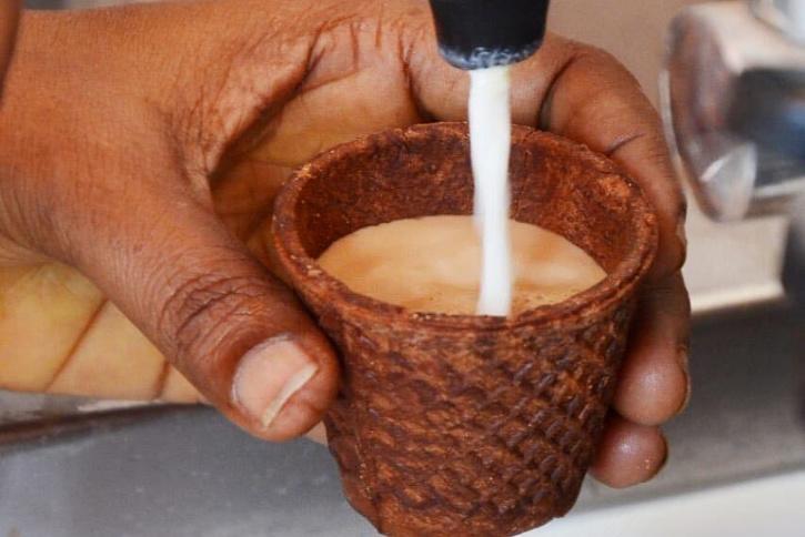 Tea in edible cup