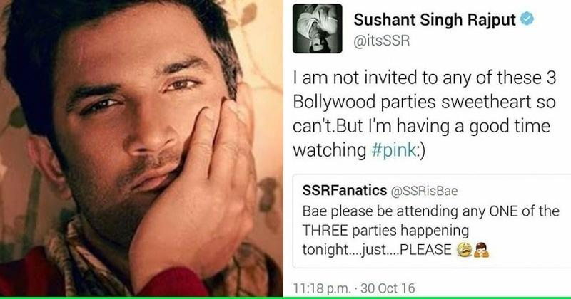 In An Old Tweet, Sushant Singh Rajput Wrote How He Wasn't Invited For Any Bollywood Parties