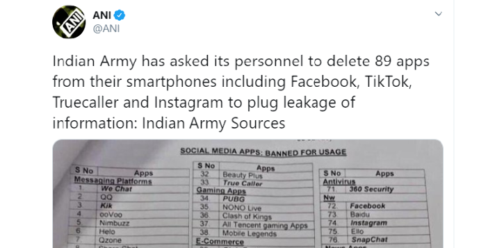 Indian Army app ban 89 apps