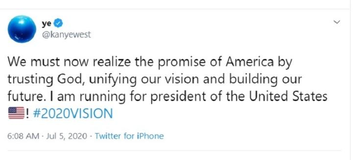 Kanye West tweet announcing running for US President 2020 Elections