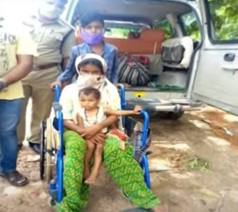 Boy helps disabled mother