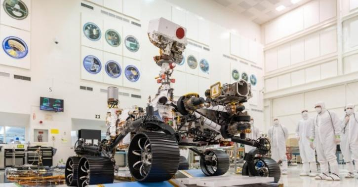 NASA Mars Perseverance Rover being tested in the laboratory before its launch on July 30