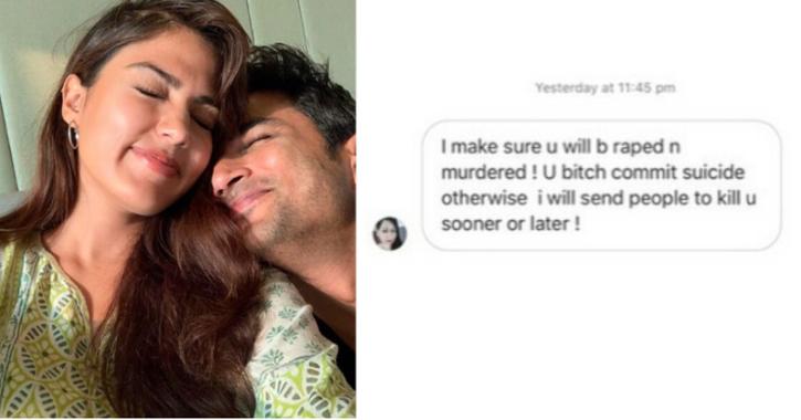 Rhea Chakraborty Shares Screenshots Of Rape & Death Threats She Got After Sushant