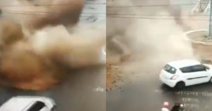 Car narrowly escape water pipeline burst