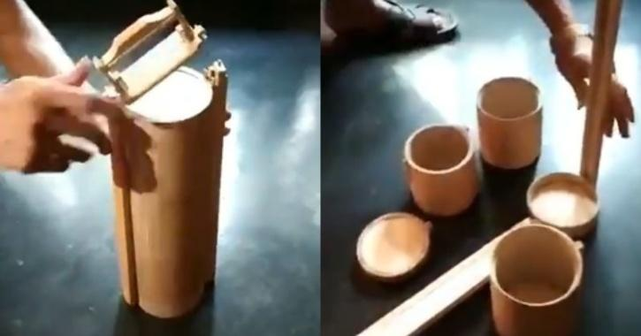 Tiffin made of bamboo