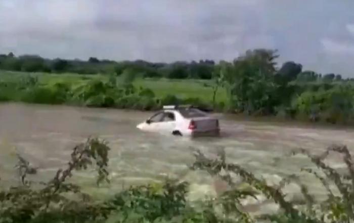 car at culvert