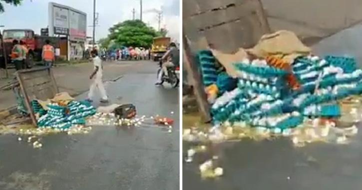 Egg cart overturned