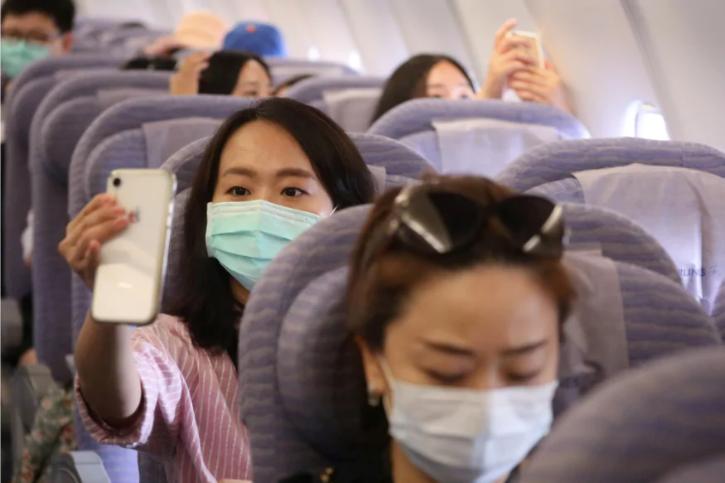 Inside of the fake flight in Taiwan