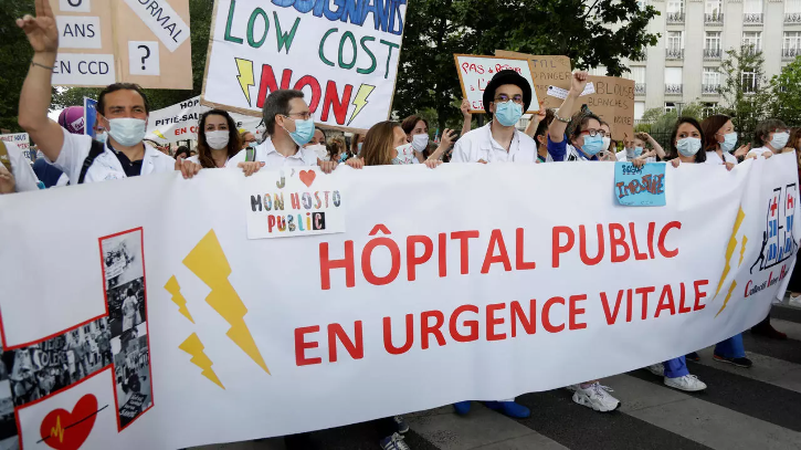 health care workers protest in France