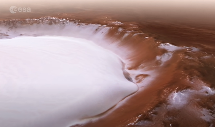 ice crater found on mars