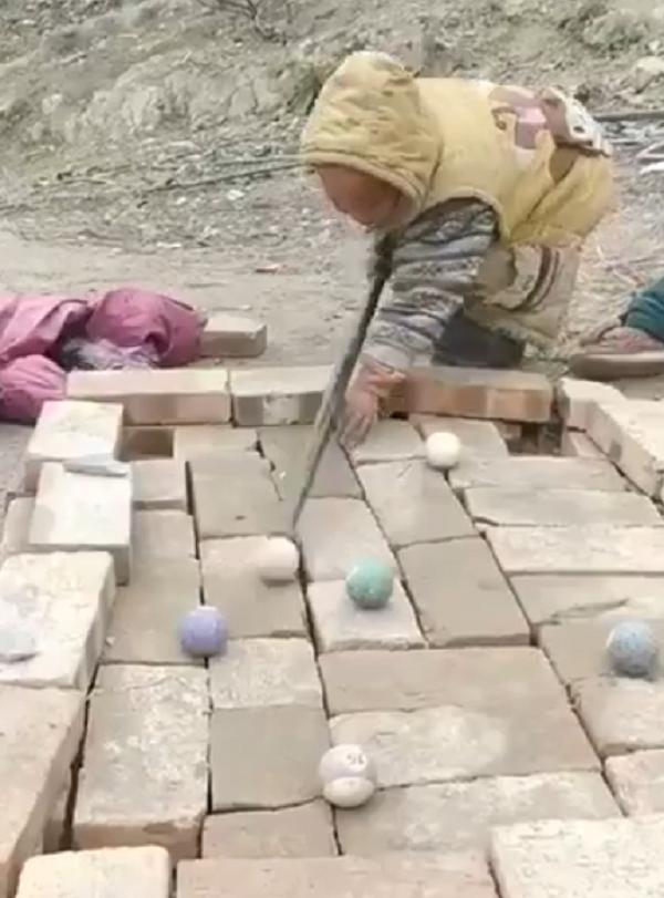 pool table made of bricks