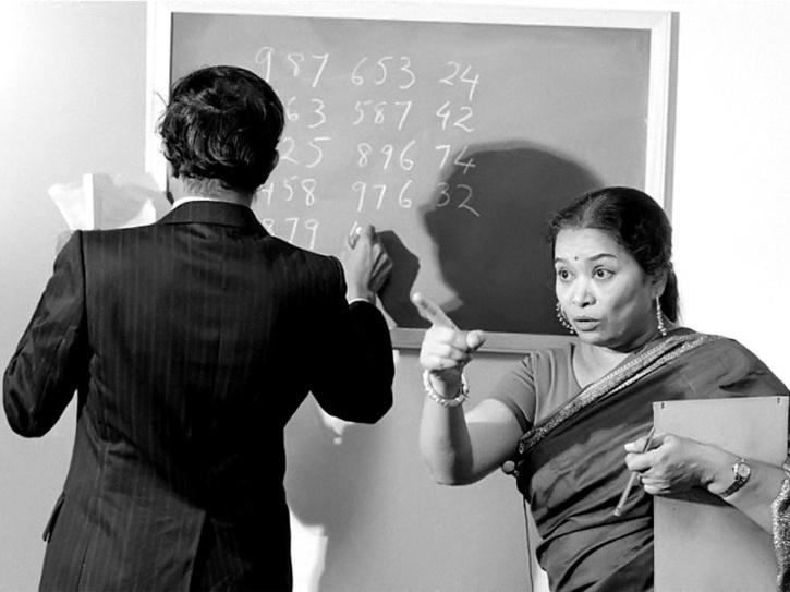 Shakuntala Devi teaching at a college.
