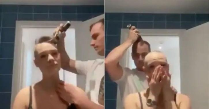 Boyfriend shaves head after that of girlfriend's