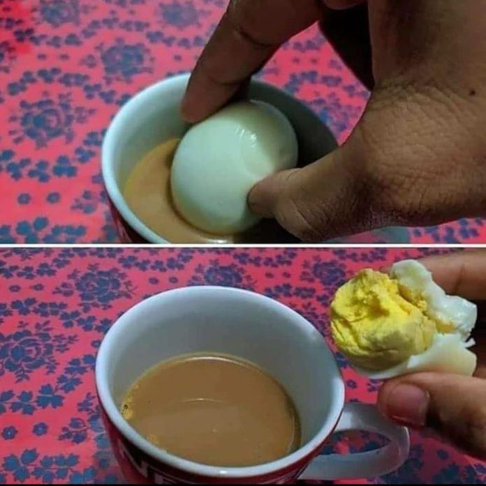 Boiled egg in chai
