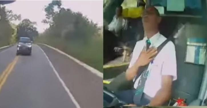 Bus driver avoids accident