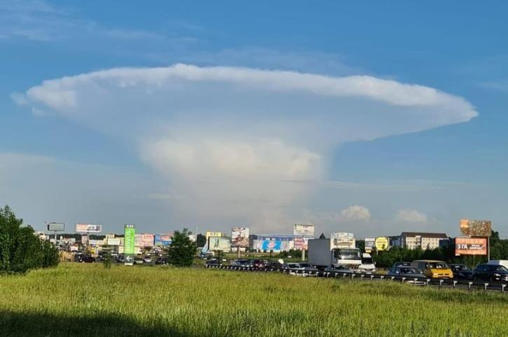 Mushroom shaped cloud appear over Ukraine