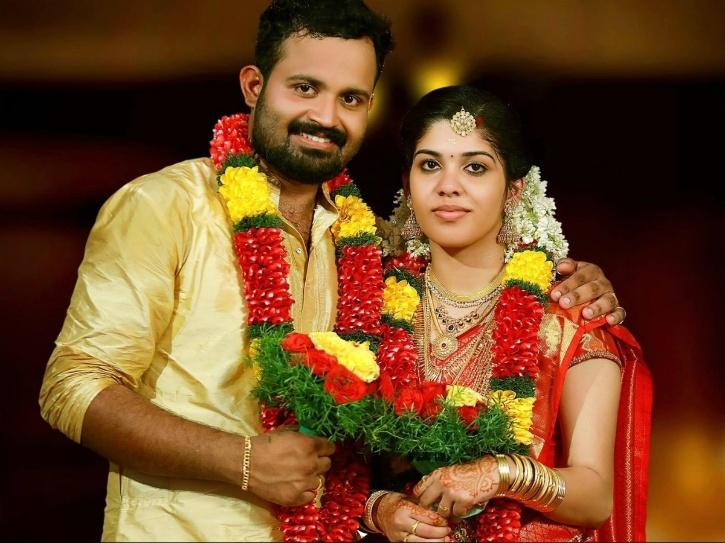 Nithin Chandran with his wife