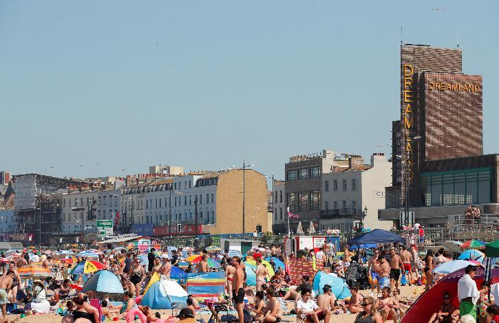 People on UK beach