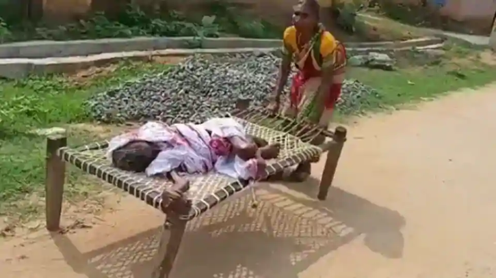 Odisha woman drags 100-year-old mother