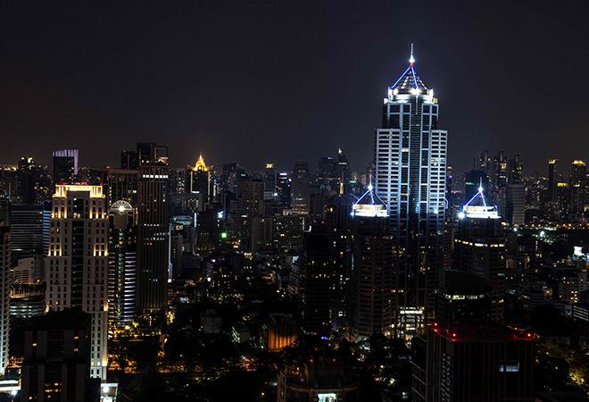 The skyline of Bangkok in China during Earth Hour 2020