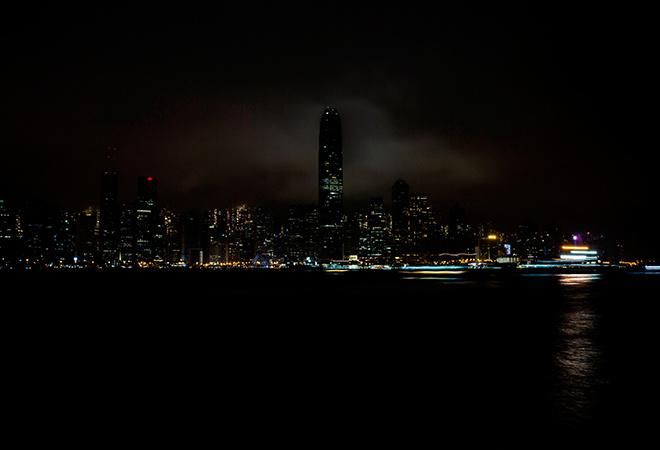 The skyline of Hong Kong in Earth Hour 2020