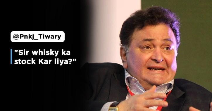 trolls ask if rishi kapoor has stocked alcohol for 21 days amid lockdown actor loses his calm