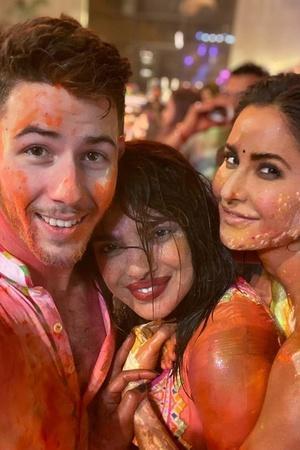 Nick Jonas, Priyanka Chopra and Katrina Kaif at Isha Ambani