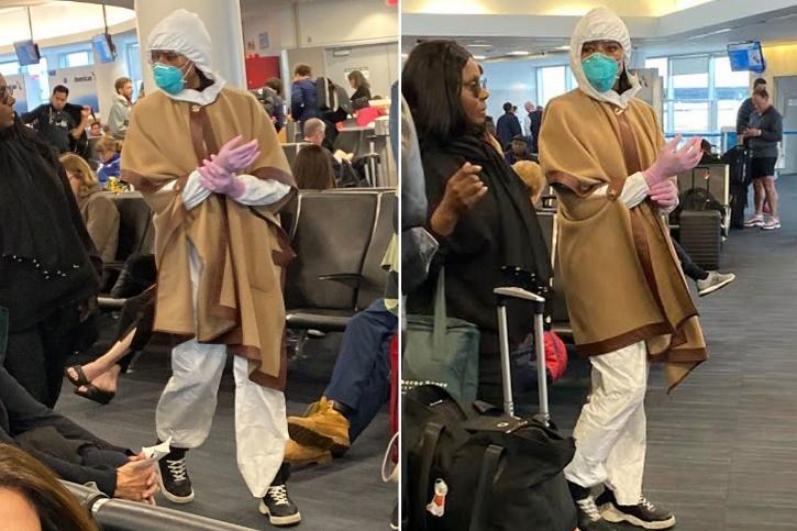 Naomi Campbell at airport amid coronavirus.