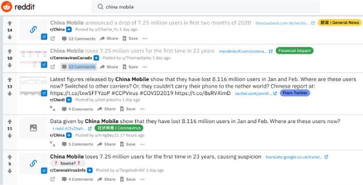 China Mobile Reddit threads