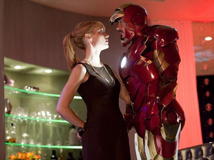 Robert Downey Jr as Iron Man and Gwyneth Paltrow as Pepper Potts.