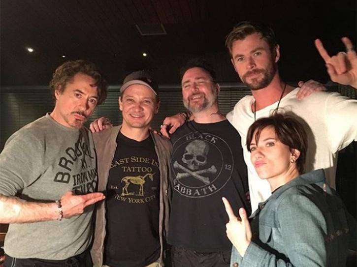 Robert Downey Jr with the cast of Avengers Age of Ultron.