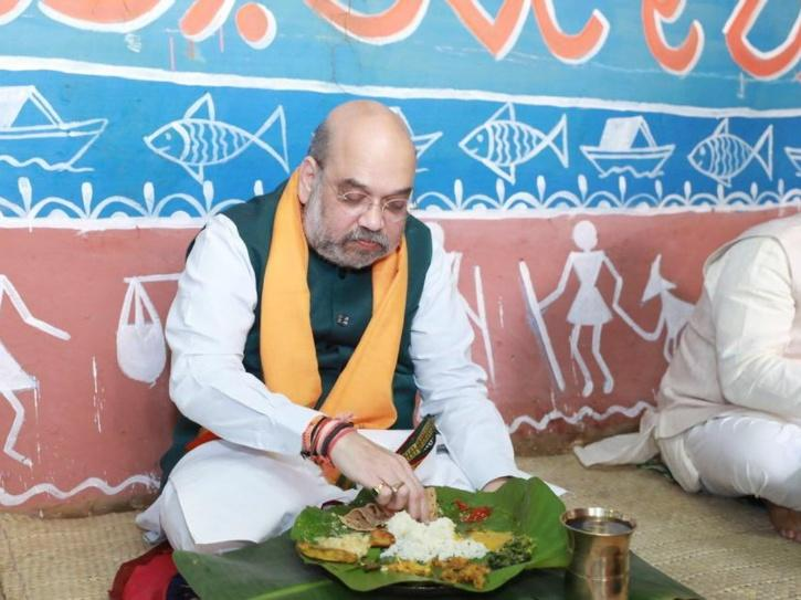 Amit shah food tribal house